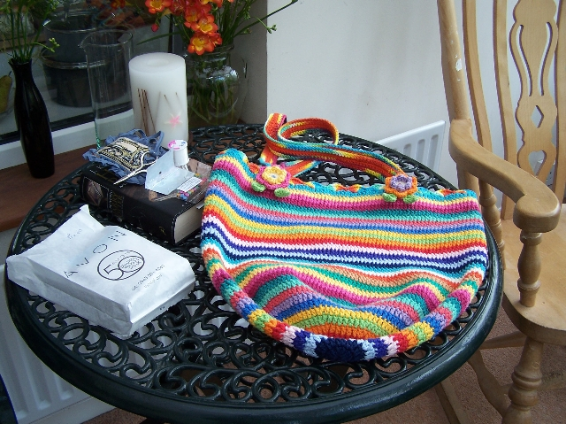 Completed knitting bag